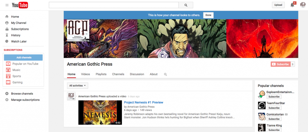 American Gothic Press YouTube Channel