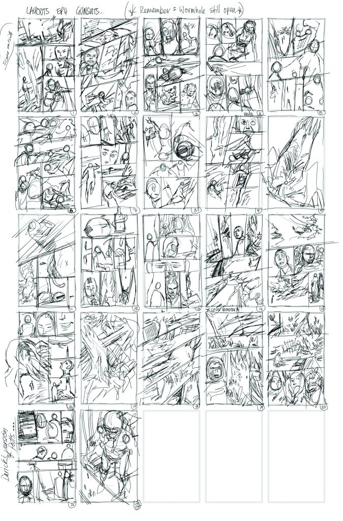 american gothic press christmas countdown, day 2 gunsuits thumbnail sketches