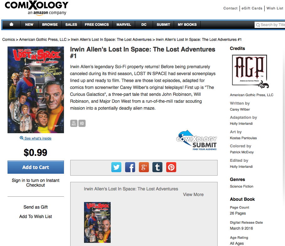 LOST IN SPACE #1 Available on Comixology